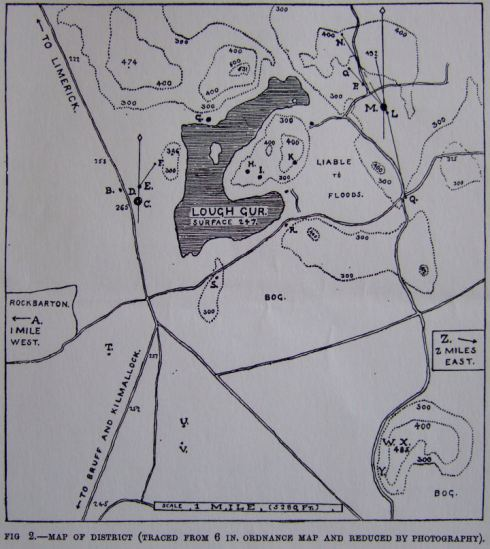 Lewis' map of the Lough Gur area. Circle O is here marked 'M', on the eastern side of the lake. Grange is marked 'C', on the western side.