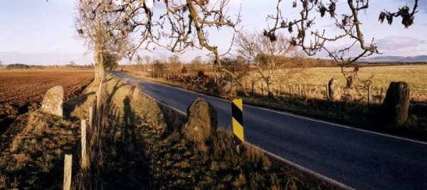 The Leys of Marlee Stone Circle, near Blairgowrie. How easy it would've been for the road to avoid the circle!