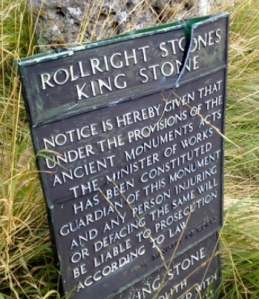 A Ministry of Works sign at the Rollright Stones, in Oxfordshire, vandalised in 2007.