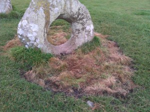The Men an Tol, after remedial work to the ground level. Sadly, the turfing did not 'take'.
