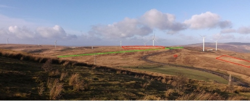 View from the south of the Banc Bryn prehistoric ceremonial landscape with the scheduled areas highlighted in red and the stone alignment in green.