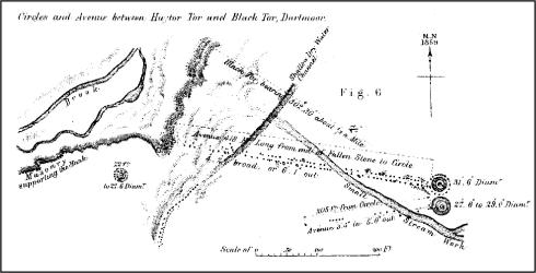 Plan of Hart Tor stone rows and cairns published by Sir J.G. Wilkinson in 1862