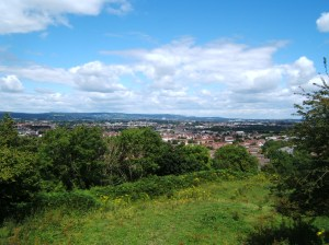 The view from the hillfort site across Cardiff.