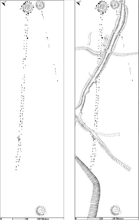Plans of the stone rows and cairns at Hart Tor.  The plan on the left shows only the prehistoric archaeology, whilst the one on the right shows all the visible archaeology.