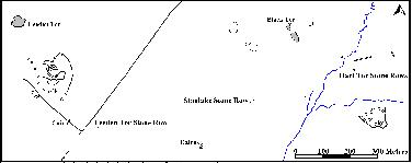 Map showing the relative position of the stone rows in the upper part of the Meavy Valley