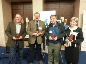 The worthy winners , from l: Phil Harding, Richard Buckley (King Richard III), Keith Parfitt (Folkstone), Rebecca Jones.