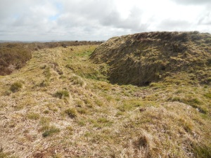 Caer Bran: The outer ditch today is still quite imposing in places.