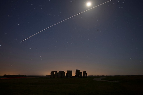 The International Space Station (ISS) flying over Stonehenge