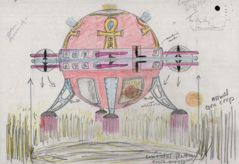 Sketch of a spaceship creating crop circles sent to the Ministry of Defence circa 1978