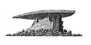 Zennor Quoit in 1769, drawn by WIlliam Borlase.  Source: Wikimedia Commons.