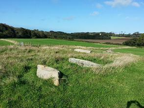 Carwynnen: The capstone and uprights laid out, ready for reconstruction.