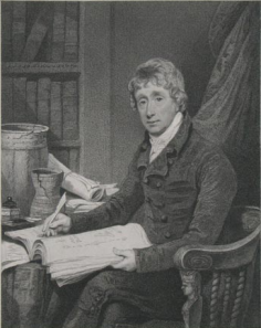 Sir Richard Colt Hoare, 2nd Bt (1758 - 1838), historian, writing with a quill in his library. Frontispiece to Volume I of his 'History of Modern Wiltshire' 1822-44.