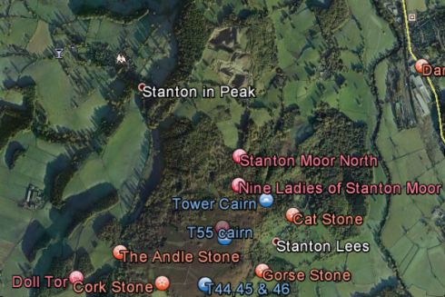 Satellite image of Stanton Moor, showing location of prehistoric monuments south of Dale View quarry. © Google Earth