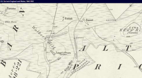1889 map showing Adam's Grave © Ordnance Survey