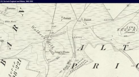 1889 map showing Adam's Grave © Ordnance Survey