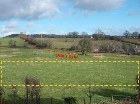 View of site as now.  Offa's Dyke indicated by red line. Walkers on the Dyke path have virtually the same view