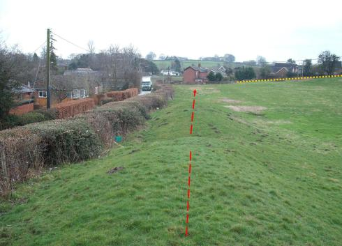 A view from the Dyke. New houses would be just 75 metres from here – by the yellow line; the red line shows the run of the Dyke.