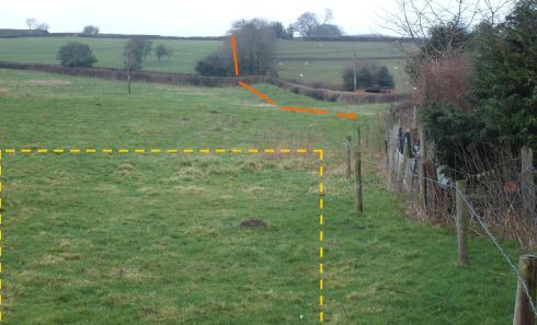 he view from the proposed site of a new dwelling – looking back at the Dyke (red line), just 75 metres away.