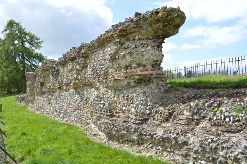 A section of Roman Wall, alongside the River Ver.