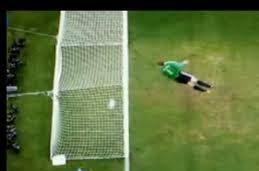 No goal!  (But don't complain. In reaching his decision the ref DID have  'special regard' to the position of the ball).