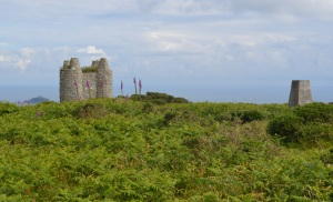 A view SE from near the entrance, showing the trig point, the tower, and St Michael's Mount