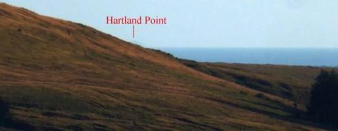 1. View from the cairn at the upper end of the alignment. Hartland Point is just visible peeking out from behind Tor Clawdd. The precision of this visual relationship cannot be over-estimated. If the cairn had been positioned a mere 5m further east Hartland Point would not be visible at all. How likely is it that this is a coincidence?