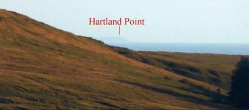 6. As one descends the hill the sea visible between Hartland Point and Tor Clawdd slowly diminishes, but the headland remains clearly in focus along the axis of the alignment.