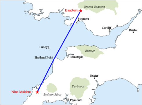 Map illustrating the orientation of the Nine Maidens and Bancbryn stone alignments