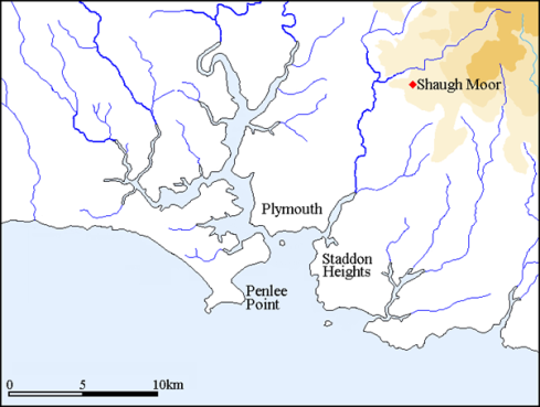 Location of the Shaugh Moor stone alignment.