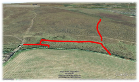 Field boundaries highlighted in red formed part of a field system at Mynydd y Betws