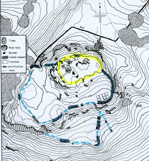 Illus. 5. Contour plan of Sheep Hill showing the positions of the fortifications and enclosures. The approximate outline of the Phase 1 vitrified (timber-framed) dun is in yellow and the ramparts of the Phase 2 hillfort are in blue. The southern entrance of the second fort is protected by a triangular annexe with its own entrance, which is itself protected by a short traverse. The excavated trenches are marked. The wall of both fort seems to have run along the same track at the top of the steep northern edge of the Hill.