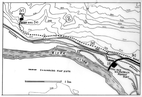 Illus. 7. Map of the area westwards from Old Kilpatrick, West Dunbartonshire, showing how the proposed heritage trail might be laid out. [1] is the Roman fort, [2] the length of Antonine Wall on relatively low, flat and open ground where a section might be excavated add the barrier reconstructed, [3] is the proposed footpath connecting the Roman remains to Sheep Hill fort [4] and the cup-and-ring carved rock [5].