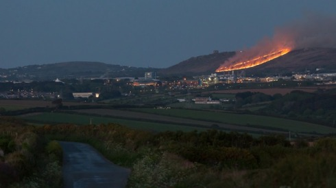 Carn Brea in flame - credit to Darrin Roberts