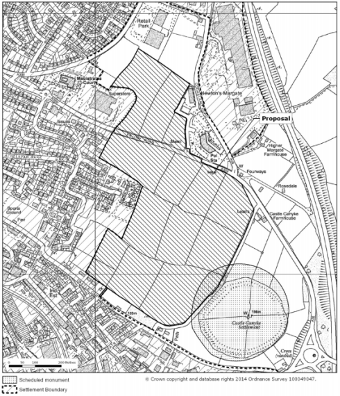 As can be seen, the original plan was to have built over part of the scheduled monument area.
