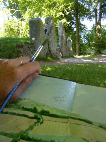 "© Jane Tomlinson ""Sitting in the shade of the Wayland's beech trees after a hot, dusty walk from Uffington Castle, I stopped to admire the sketch I'd made of the Wayland's site from further up the hill..."""