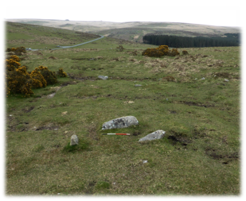 The blocking stone (behind the ranging rod) which is now recumbent was the largest stone in the row.