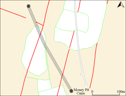 Simplified plan showing the row leading to the Money Pit Cairn. The Bronze Age reaves (red) and historic fields (green) show no respect for the row and both will have caused damage.