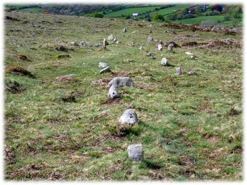 The shift in the alignment at this point is obvious. Like most Dartmoor stone rows this one is not absolutely straight.