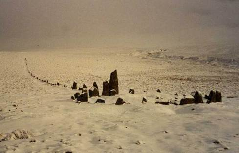 Hingston Hill stone alignment on Dartmoor. The snow provides an amazing contrast and makes this special place magical. A real treat.