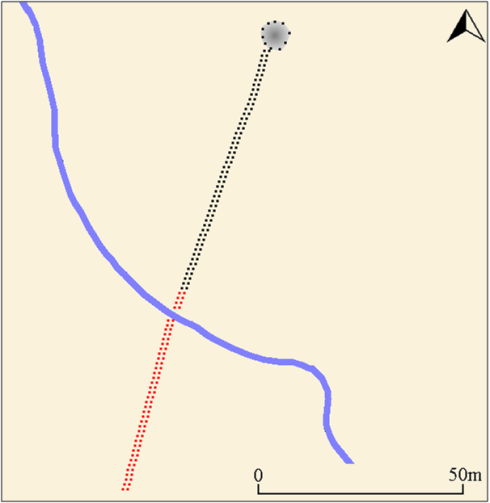 Simplified plan showing the row and cairn. Views to the sea exist from the stones coloured black, but no sea views are available from the part of the row coloured red.