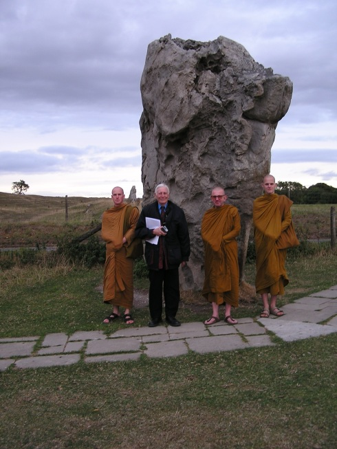 Eric is pictured here in October 2003, visiting Avebury with (on his left), the Ven. Khemadhammo Mahathera OBE, Abbot of The Forest Hermitage and Spiritual Director of the Buddhist Prison Chaplaincy Angulimala, and two other monks.