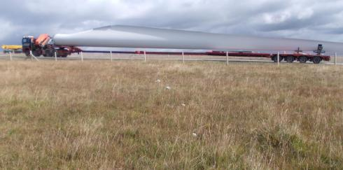 Part of stone alignment has recently been destroyed by wind farm infrastructure