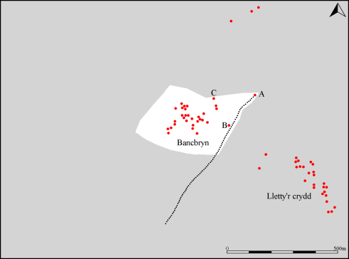 Map showing the extent of the small area from which views of Devon are possible (white). The south eastern edge of this area is precisely denoted by the stone alignment. Views from within the Bancbryn cemetery include much of Bideford Bay whilst along the alignment itself the view is restricted to Hartland Point only. Devon is not visible from the Lletty'r crydd cemetery.