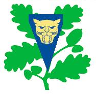 "The National Trust's oak leaves together with one of the loggerheads from Shropshire Council's coat of arms. [Loggerhead: original meaning ""a blockhead"", as in Shakespeare: """"Ah you whoreson logger-head, you were borne to doe me shame.""]"