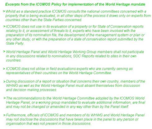 ICOMOS Policy